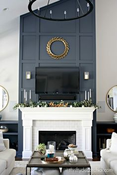 Great Screen Fireplace Remodel high ceiling Concepts Two year before and after h. Great Screen Fireplace Remodel high ceiling Concepts Two year before and after house tour! I've done a LOT! from Thrifty Decor Chick Fireplace Redo, Tall Fireplace, Living Room With Fireplace, Fireplace Surrounds, Fireplace Design, Fireplace Makeovers, Fireplace Ideas, Modern Fireplace Decor, Farmhouse Fireplace