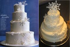Snowflake wedding cakes by Sylvia Weinstock as featured in In Style Magazine (left) and by Sugarrush74 on Cake Central.com(right).png