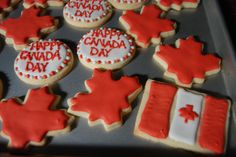 Canada Day cookies use low carb cookie dough for cut out cookies Happy Birthday Canada, Happy Canada Day, Canada Canada, Visit Canada, Holiday Parties, Holiday Ideas, Canada Day Party, Yummy Treats, Sweet Treats