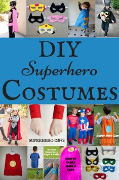 Felt Superhero Mask Templates - Cutesy Crafts DIY Superhero Costumes<br> Create superhero masks with these free felt superhero mask templates. Make them with felt or use them as a paper printable to color at your superhero party! Superhero Costumes For Boys, Superhero Capes, Boy Costumes, Super Hero Costumes, Superhero Ideas, Halloween Costumes, Costume Batgirl, Costume Garçon, Costume Ideas