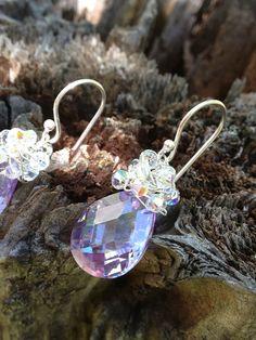Light Amethyst Cluster Earrings by hapagirlhawaii on Etsy, $48.00