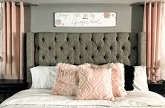 Master bedroom. King size Tufted wing back bed. Blush, champagne, rose gold, grey, black and white.