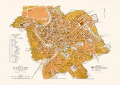 ROME ITALY MAP Map of Rome Historical by EncorePrintSociety