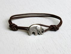 Elephant Leather Bracelet ( Etsy:: http://www.etsy.com/listing/81995248/elephant-leather-bracelet-11-colors-to# )