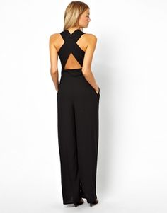 Buy Love Jumpsuit With Cross Back at ASOS. Get the latest trends with ASOS now. Jumpsuit Elegante, Black Jumpsuit, Jumpsuit Hijab, Overall, Dress Codes, Spring Summer Fashion, Dress To Impress, Beautiful Dresses, Ideias Fashion