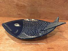 Fish platter. Blue fish. sgraffito fish tray. By Polly Ireland, Natchez Mississippi