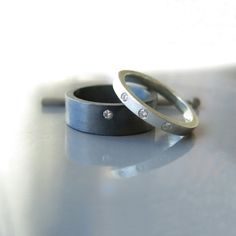 Sterling silver diamond ring set, Wedding rings, Engagement rings, Oxidized ring, Diamond ring set, Wedding bands, Engagement ring set by RAVITKAPLANJEWELRY on Etsy
