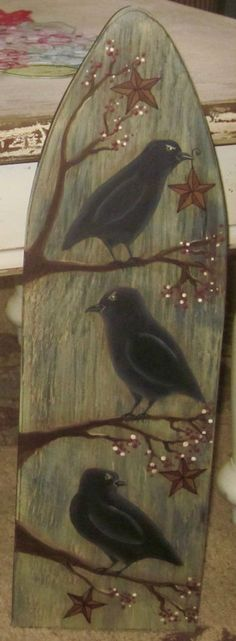 THIS ~ PRIMITIVE ~ STRETCHER WAS HAND PAINTED BY ME. I FIRST PAINTED THE STRETCHER LAMP BLAC K AND THE FRONT ANTIQUE WHITE, THEN SANDED IT TO GIVE IT THE AGED LOOK. I THEN PAINTED FOLK ART CROW.SITTING ON BRANCHES.WITH BARN STARS AND BERRIES. | eBay! Primitive Painting, Primitive Folk Art, Primitive Crafts, Country Primitive, Autumn Painting, Tole Painting, Painted Ironing Board, Ironing Boards, Decor Crafts
