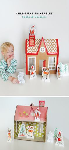 New Christmas Printables in the Shop! with DIY cardboard Christmas house!