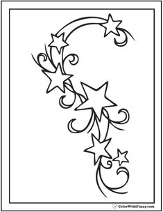Star Tattoos Tattoo Designs Moon And Stars Tattoo Stencil Cute Bild Tattoos, Cute Tattoos, Star Coloring Pages, Coloring Books, Colouring, Adult Coloring, Tattoo Muster, Initial Tattoo, Star Tattoo Designs