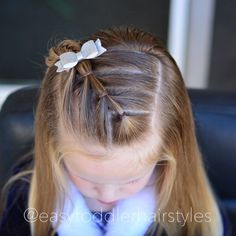 """232 Likes, 7 Comments - Tiffany ❤️ Hair For Toddlers (@easytoddlerhairstyles) on Instagram: """"Diagonal arrow ponytails. I love this style because it's so simple yet different. It also…"""""""