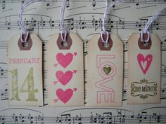 Valentines Day Tags  mini tags  Valentines by LittlePumpkinPapers, $7.50