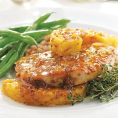Thyme, Pork Chop & Pineapple Skillet Supper [so very delicious - excellent curry recipe. kids requested more! made with orange marmalade & served with rice pilaf and green beans, v. tasty. make 8 chops next time - there's plenty of sauce, & leftovers won't last long. -lm]