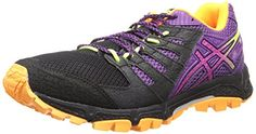 ASICS Womens GelFujiattack 4 Running ShoeOnyxHot PinkPurple85 M US -- You can get more details by clicking on the image.