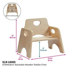 Stackable Wooden Chair for Toddlers - Sturdy Hardwood Seat for Daycare/Preschool/Home Furniture - Natural Finish Wood Furniture Living Room, Diy Furniture Couch, Kids Furniture, Kids Teepee Tent, Toddler Chair, Wooden Stools, Kids Wood, Chair Upholstery, Diy Wood Projects