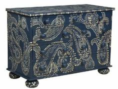 """Blue Paisley Chest of Drawers - Blue Paisley Chest - DEEP COTTAGE BLUE Nine Drawer Chest - HAND PAINTED with a PAISLEY motif and SHELL BUTTON DETAILS. Great for a lake home, cabin, or shore front vacation home! Solid MAHOGANY. 47.24""""W x 33.66""""H x 21.85D - TO ORDER greenlifestylebiz@gmail.com"""
