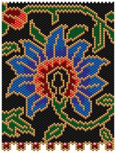 Persian Flower Pattern. This would look great in a white background too. Graph provided in color code mode with list of Delicas needed, thumbnail. 8 colors Project Type: Bead Stitch: brick or peyote Beads Used: Delicas