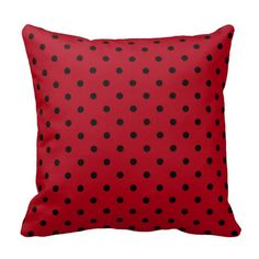 Red and Black polka dot throw pillows