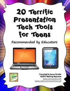 Free! 20 Terrific Presentation Tech Tools for Teens - This freebie is the result of collaboration between 20 educators who shared their recommendations for online or mobile device apps for classroom presentations.