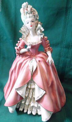 "RARE 10""  ELEGANT Vintage FLORENCE CERAMICS ""Prima Donna"" Lady Victorian Figurine."