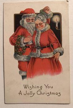 ~Cute~Mr. & Mrs. SANTA CLAUS with Mistletoe ~Antique Christmas Postcard-a82 #Christmas Christmas Barbie, Father Christmas, Christmas Art, Christmas Greetings, Christmas Couple, Christmas Postcards, Beautiful Christmas, Xmas, Vintage Christmas Images