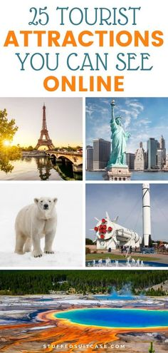 Stuck at home and want to travel? Here are 25 popular tourist spots around the United States, Canada, and the world that you can visit virtually from your computer! Travel Usa, Travel Tips, Canada Travel, Travel Ideas, Virtual Field Trips, Virtual Travel, Tourist Spots, Adventure Travel, Adventure Time