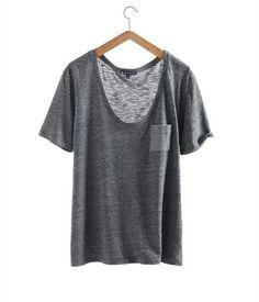 T-shirt femme col V arrondi en jersey chiné flammé