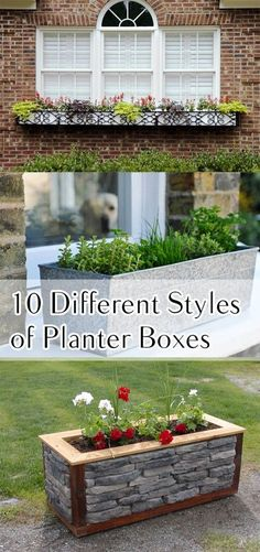Creative Planter Box Styles, Projects and Tutorials : 10 Different Styles of Planter Boxes- planter box styles, window boxes and other outdoor planter ideas. See these creative different planter boxes! Lots of ideas, projects and planter box tutorials. Outdoor Planters, Outdoor Gardens, Fall Planters, Garden Planters, Outdoor Projects, Garden Projects, Diy Projects, Garden Tips, Diy Planter Box