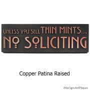 Thin Mints No Soliciting Sign – Copper