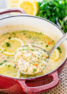 Lemon Rice and Chicken Soup. This Lemon Rice and Chicken Soup also known as Avgolemono is a classic Greek soup thickened with eggs loaded with rice and chicken. Lemon Chicken Rice Soup, Chicken Soup Recipes, Cooked Chicken, Greek Chicken, Lime Chicken, Recipe Chicken, Rotisserie Chicken, Healthy Cooking, Cooking Recipes