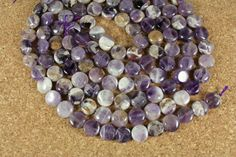 Chevron Amethyst Coin Beads  Smooth Purple and White by ABOSBeads, $8.99
