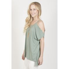 Scallop Open Shoulder Top. Product Details  Short open shoulder sleeves Scallop accents Round neckline Hi-lo hemline Soft and stretchy knit material Made in the USA  Sizes  Small (US Size 0-4) Medium (US Size 6-8) Large (US Size 10-12)  Fit Info  Relaxed fit Model is wearing size Small  Materials  65% Rayon 35% Polyester                      Made In: Guatemala              Shipped From: United States         Lead Time: 1 - 2 Days