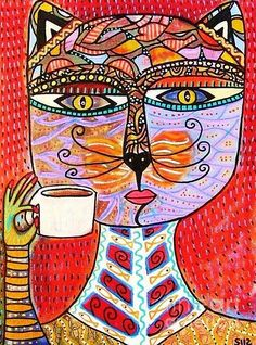 Cat Goddess Drinking Espresso Painting by Sandra Silberzweig Animal Projects, Art Projects, Sandra Silberzweig, Original Artwork, Original Paintings, Cat Paintings, C Is For Cat, Art Journal Pages, Art Journals