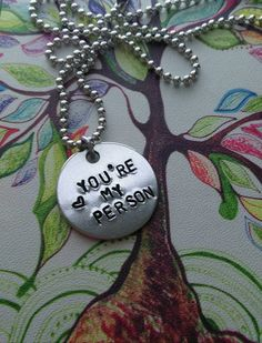 ON SALE Handstamped You're my Person necklace by sassyfrassx3