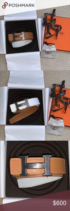 32mm belt leather strap size 085 color  blanc naturel original price  455  Boucle ceinture 5382 metal pallad color  05 argent ... 0176a5bcec2