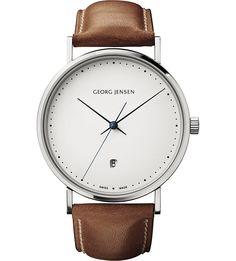 GEORG JENSEN - Koppel stainless steel and leather watch 41mm | Selfridges.com