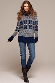 dámský ručně pletený pulovr žakár z příze Merino 125 a Step 6