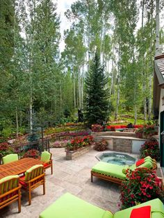 Gorgeous Decks and Patios With Hot Tubs A rustic sunken tub, complemented by colorful planters and o Patio Tiles, Concrete Patio, Patio Stone, Sunken Hot Tub, Hot Tub Patio, Rustic Patio, Rustic Outdoor, Rooftop Patio, Backyard Decks