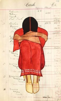 by Wakeah Jhane Ledger art kp Native American Women, American Indian Art, Native American Indians, American History, Native American Paintings, Native American Artists, Indian Paintings, Art Paintings, Abstract Paintings
