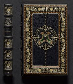 Upper cover and spine of Pierre Sonnerat's 'Voyage to the Spice Islands', bound by Sangorski & Sutcliffe in 1913