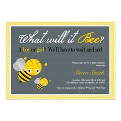 Fun design for a baby boy or baby girl baby shower invitation featuring bright yellow bumble bees with black stripes and the amusing text 'What will it bee? A boy or a girl? We'll have to wait and see'. Personalize with your baby shower announcement details.
