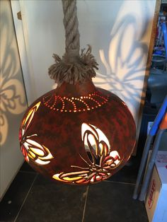 Pyrography Patterns, Gourd Lamp, Painted Gourds, Wooden Lamp, Coconut Shell, Pretty Lights, Pumpkin Decorating, Lamp Design, Lamp Light