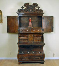 Iberian Baroque Walnut Secretary Colonial Art, Baroque Art, Secretary, 18th Century, Carving, Shelves, The Originals, Interior, Furniture