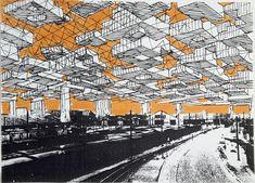 Yona Friedman and the group of mobile architecture studies Architecture Environnementale, Environmental Architecture, Architecture Concept Drawings, Yona Friedman, Moma, Urban Fabric, Future City, Retro Futurism, Art Plastique