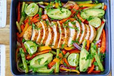 Fajitas made Simple! Seriously requires very little hands-on...and the FLAVOR👌 Serves about 2 Ingredients: 1/2 pound chicken breast 1 yellow bell pepper, sliced thin 1 red bell pepper, sliced thin 1 orange bell pepper, sliced thin 1 red onion, sliced thin 4 stalks of celery 1 1/2 Tbsp. avocado...