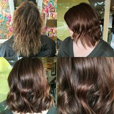 """Fun day in salon today making over our client using @evohair fabpro Choc-Violet mix. Our client wanted to trial what it would look like to be a bit deeper, without any committment before going in with true demi permanent colour work. #fabpro is ammonia free colour and only lasts a couple of weeks - your hair will return to its previous natural colour state but during, will undergo a fading process. If you'd like to """"trial/test"""" a new colour option, this is a great system to go with!"""