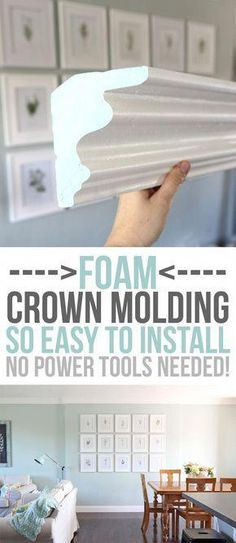 diy home upgrades FOAM crown molding is easier to install than traditional molding, but once its up, it looks the same! No power tools required, it is installed with glue. Pre-made corners available too! DIY home upgrades for the beginning remodeler. Home Remodeling Diy, Home Diy, Home Upgrades, Home Improvement Projects, Molding Installation, Diy Remodel, Crown Molding Installation, Diy Home Improvement, Home Improvement Loans