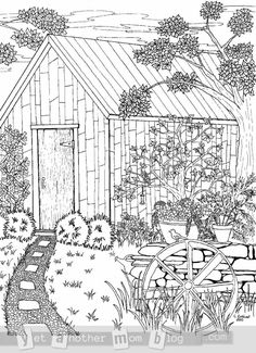 Coloring Page: Garden Scene