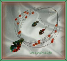 Necklace & Earring Set  Lamp Work Glass Abstract Set by kidalski, $16.11