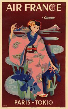 Air France travel poster, 1952